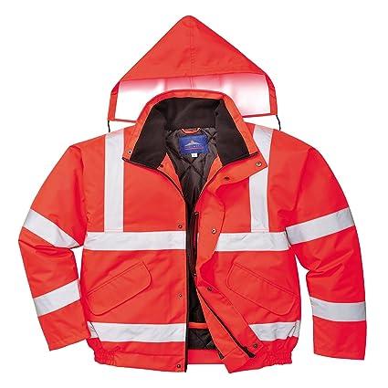 Portwest S463RERXXXL Hi-Vis Bomber Jacket Size 3X-Large Red Regular