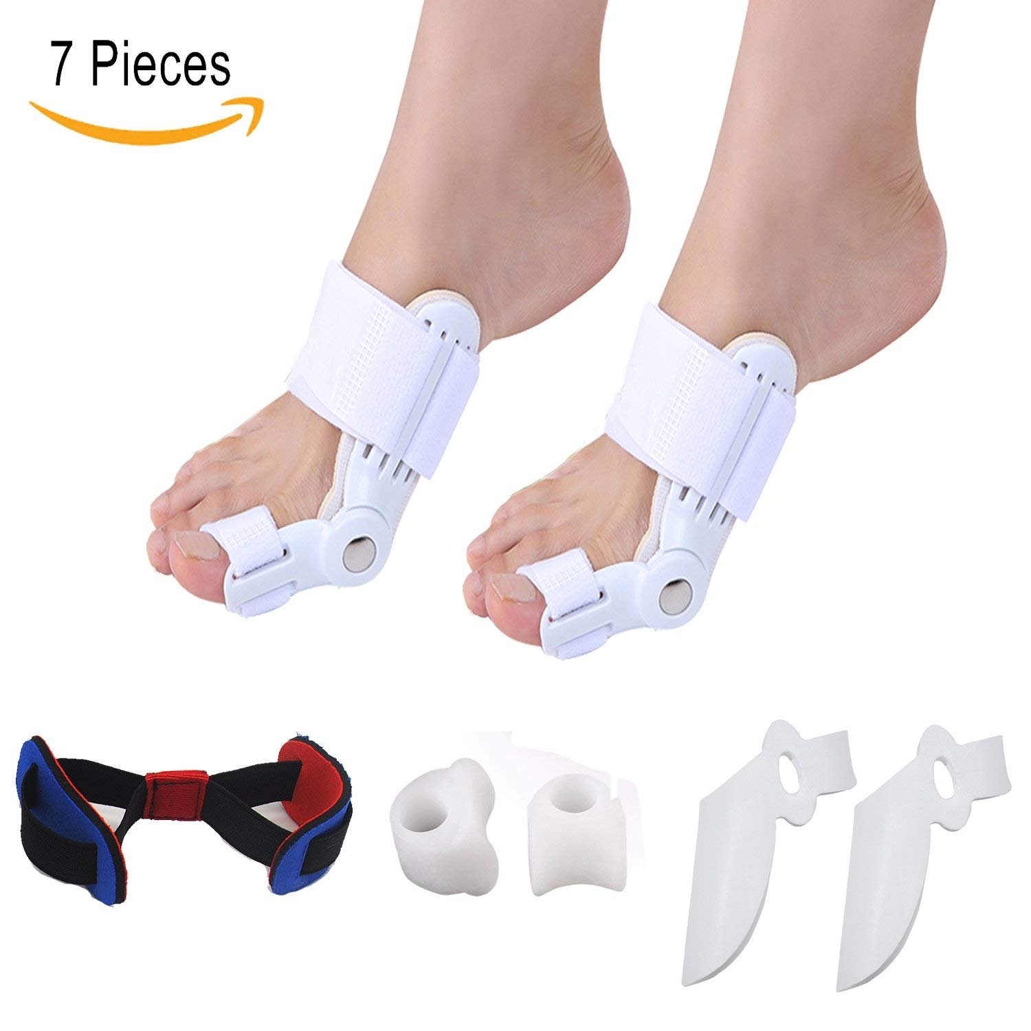 Bunion Corrector Splint Relief Protector kit -Carikaien 7 PCS Toe Spacers Straighteners Splint Aid Surgery Treatment in Hallux Valgus Overlapping Toe Separation Hammer Toe by Carikaien