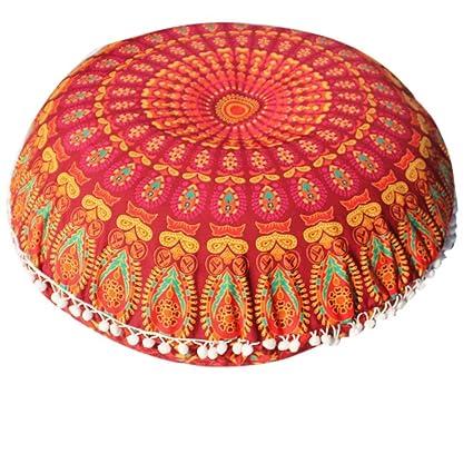 Balakie Throw Pillow Case, Indian Mandala Cushion Cover Round Bohemian Sofa Home Decor Soft Comfortable Pillow Slip Gift(C,Diameter:43cm(17.0
