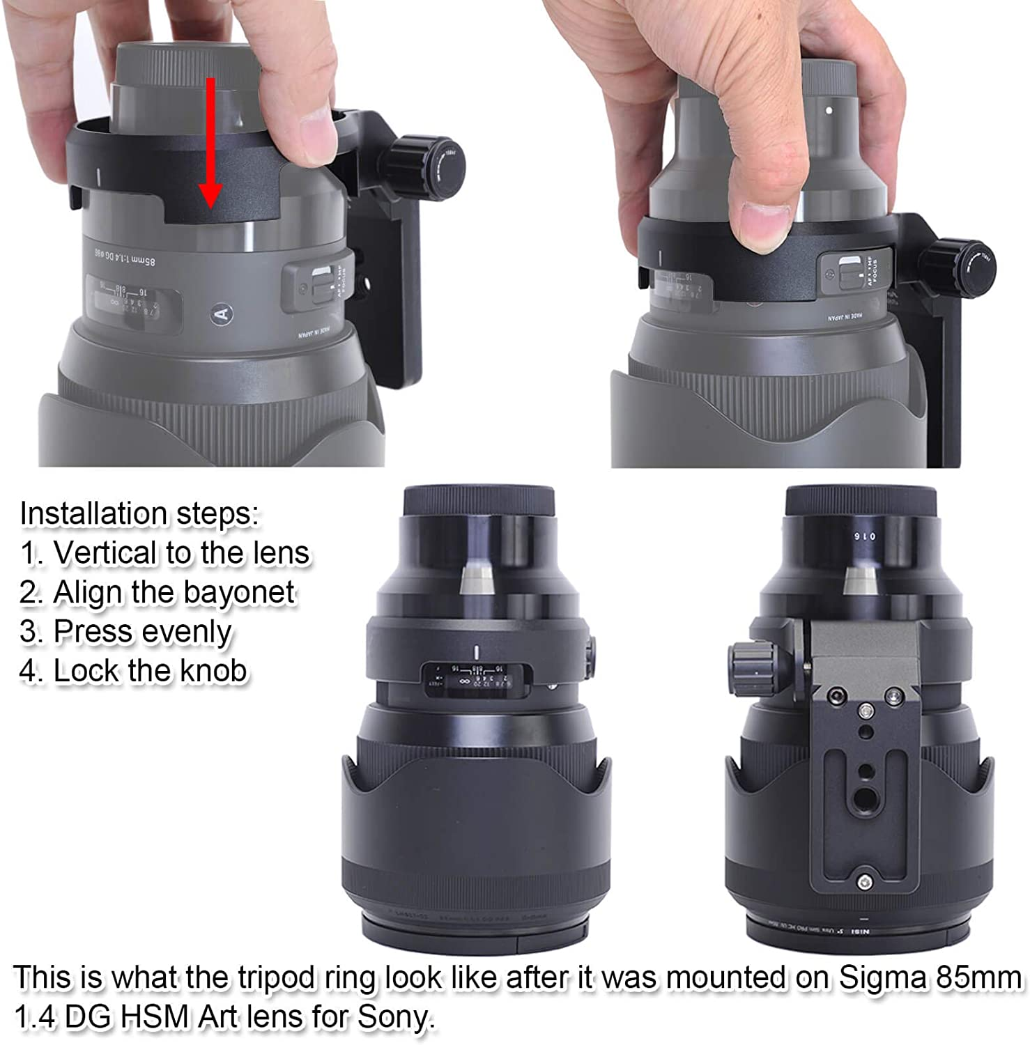 CNC Lens Collar for Sigma 85mm f//1.4 DG HSM Art Lens iShoot Tripod Mount Ring Built-in ARCA Type Quick Release Plate Compatible with Tripod Ball Head of PMG Fit for Canon EF, Nikon AF, Sony E Mount