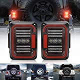 LED Tail Light Compatible with Jeep Wrangler JK JKU 2007-2017 with DRL Reverse Light and Brake Light, Double Re-breather and Multi-Transmissive Lens [DOT Compliant]