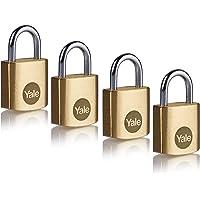 Yale Y110B/20/111/4 - Lote de 4 candados de latón (20 mm) - Cerraduras interiores para casillero, mochila, caja de…