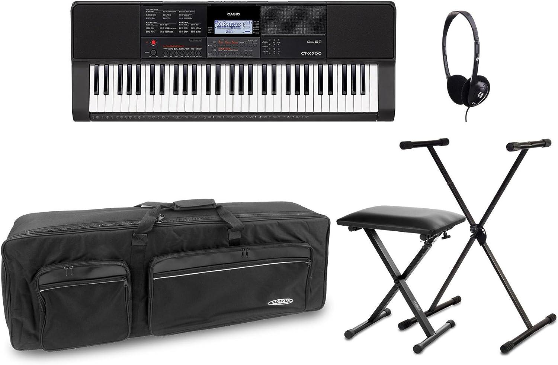 Casio ct X700 Keyboard Deluxe Set (Digital Keyboard con soporte para teclado de 61 teclas, X, auriculares, Keyboard Banco & bolsa de transporte), ...