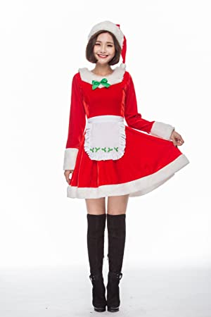 c7bdecf04bda7 S C Live クリスマスコスプレ レディース 大人上品 高品質 メイド風ワンピサンタ3点セット