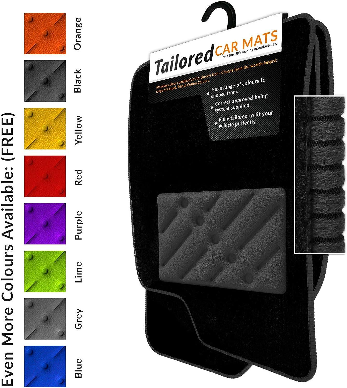 TAILORED CAR FLOOR MATS BLACK CARPET WITH ORANGE TRIM RENAULT CAPTUR 2013