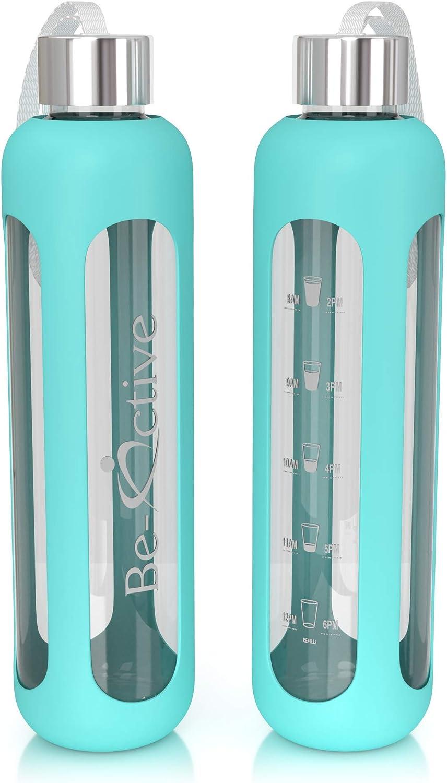 Be-Active Botella de Agua Motivacional de Vidrio de 1 litro con ...