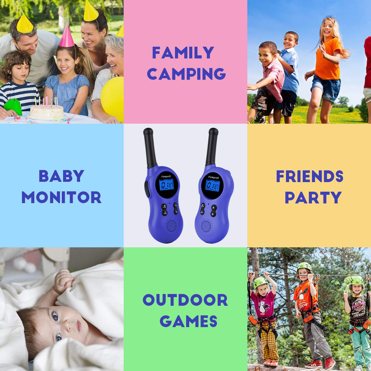 Funkprofi Walkie Talkies for Kids 22 Channels VOX Voice Activated Rechargeable Kids Walkie Talkies for Camping, Hiking, Batteries and Type C Cable Included, Ideal Toys for Teen Boys and Girls by Funkprofi (Image #5)