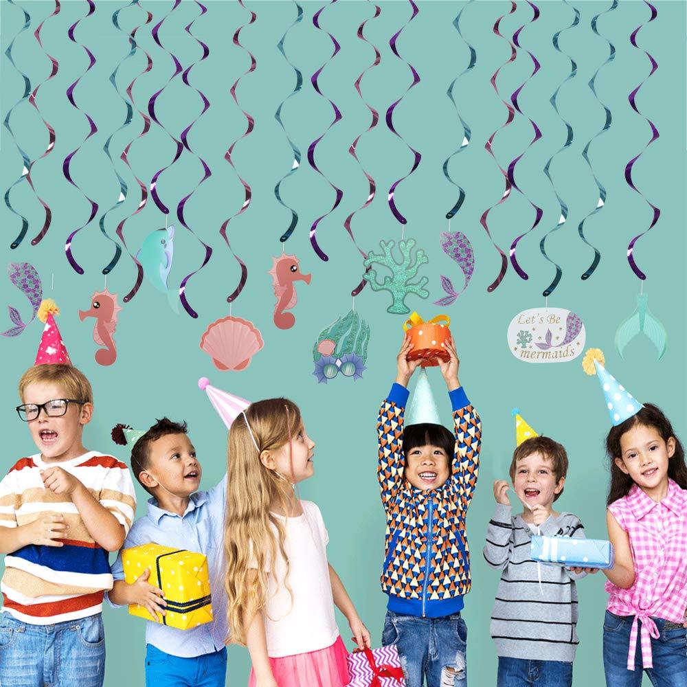 ManLee 30 Pezzi Decorazione a Spirale Mermaid Pendenti in Carta Sirena Festoni Spirali Turbinanti a Sospensione Ghirlanda Verticale Soffitto per Feste Compleanno Battesimo Bambino Tema Marino