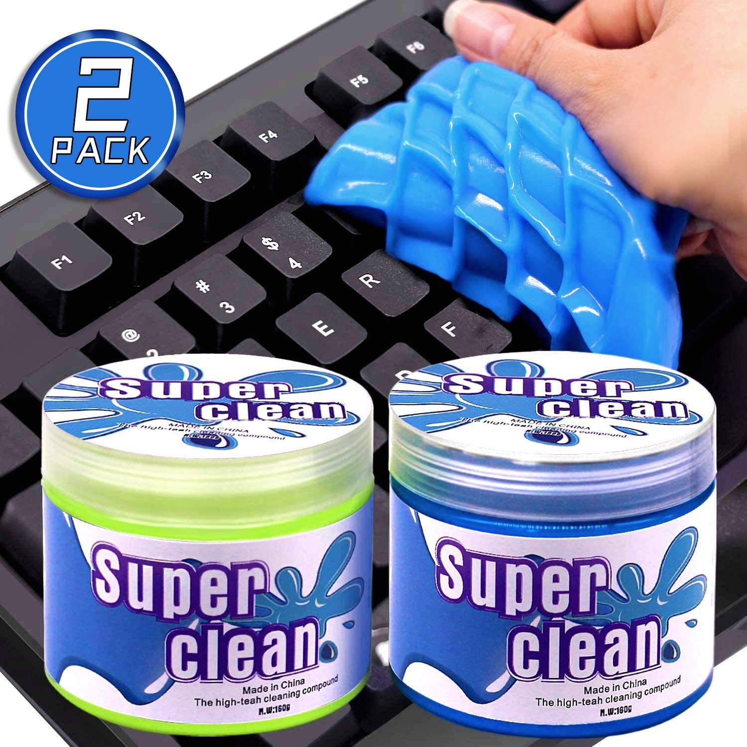 Tostace Keyboard Cleaning Gel Keyboard Cleaner, 2 PACK/160G Dust Cleaner Gel, Detailing Cleaning Gel for PC Tablet Laptop Keyboards, Car Vents, Printers, Home Office Electronics Cleaner Gel