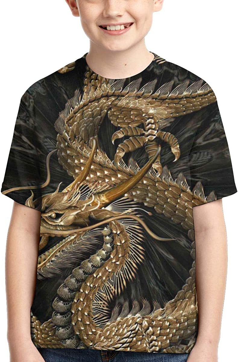 AMODECO Dragon 3D Printed Tee T-Shirt for Youth Teenager Boys Girls