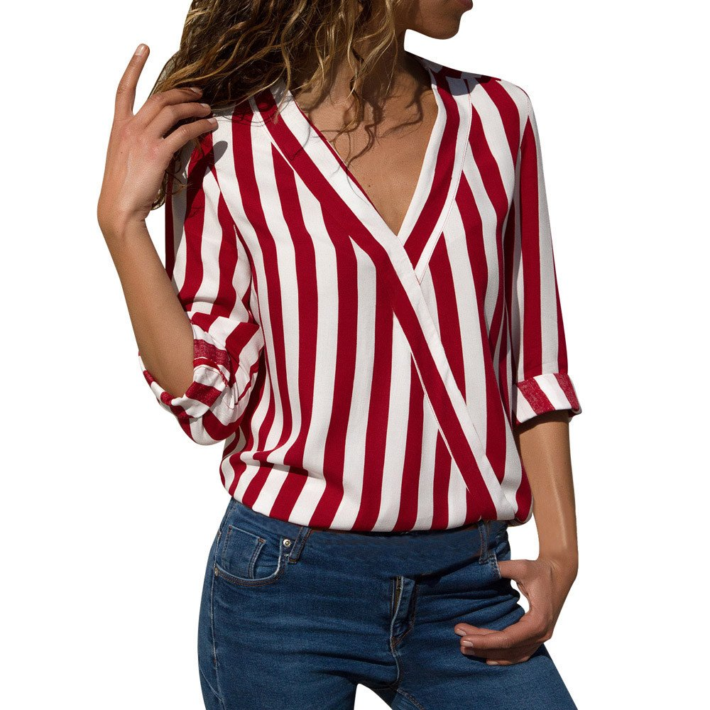 Damark Womens Shirts Women Casual Stripe Long Sleeve V-Neck Wrap Top Irregular Work Office Shirt Tops Blouses T-Shirts