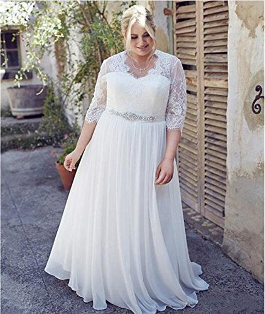 Qing Women\'s Plus Size Wedding Dress Lace Beach Bridal Gown Ball Gown for  Bridal 26W White