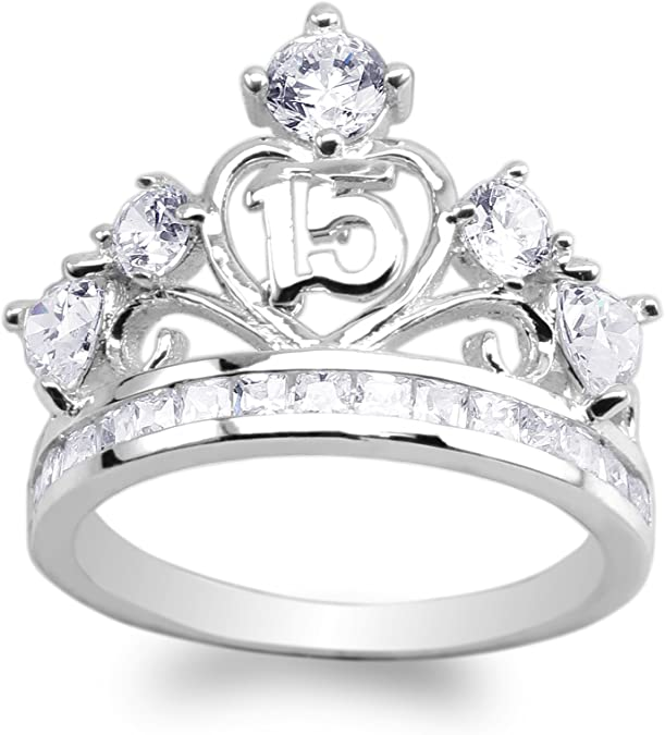 JamesJenny Ladies 10K14K Yellow Gold 15 Anos Quinceanera Clear CZ Heart Ring Size 4-10