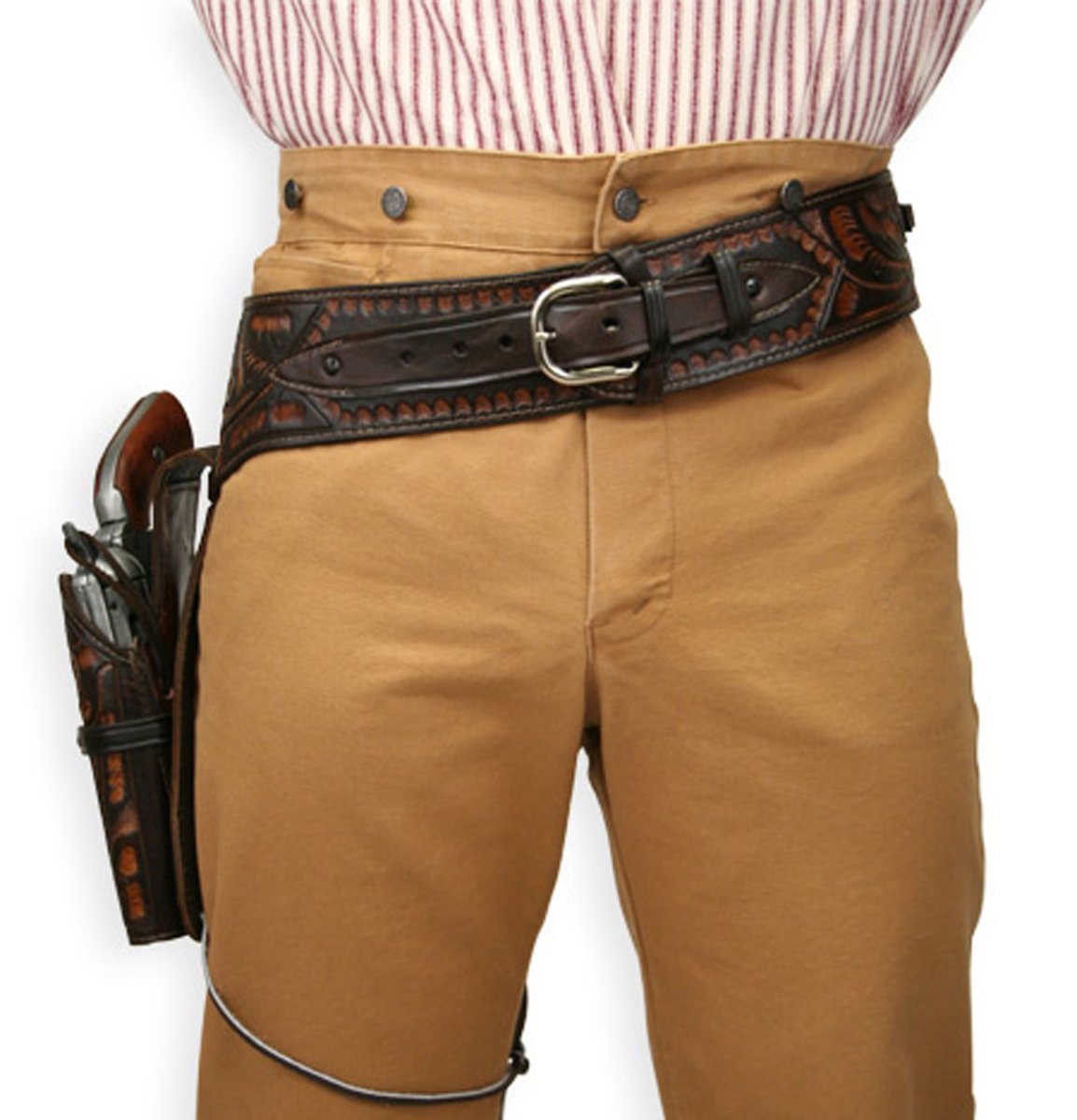 Men's Steampunk Goggles, Guns,  Accessories  Tooled Leather Western Gun Belt and Holster .44/.45 cal $125.95 AT vintagedancer.com