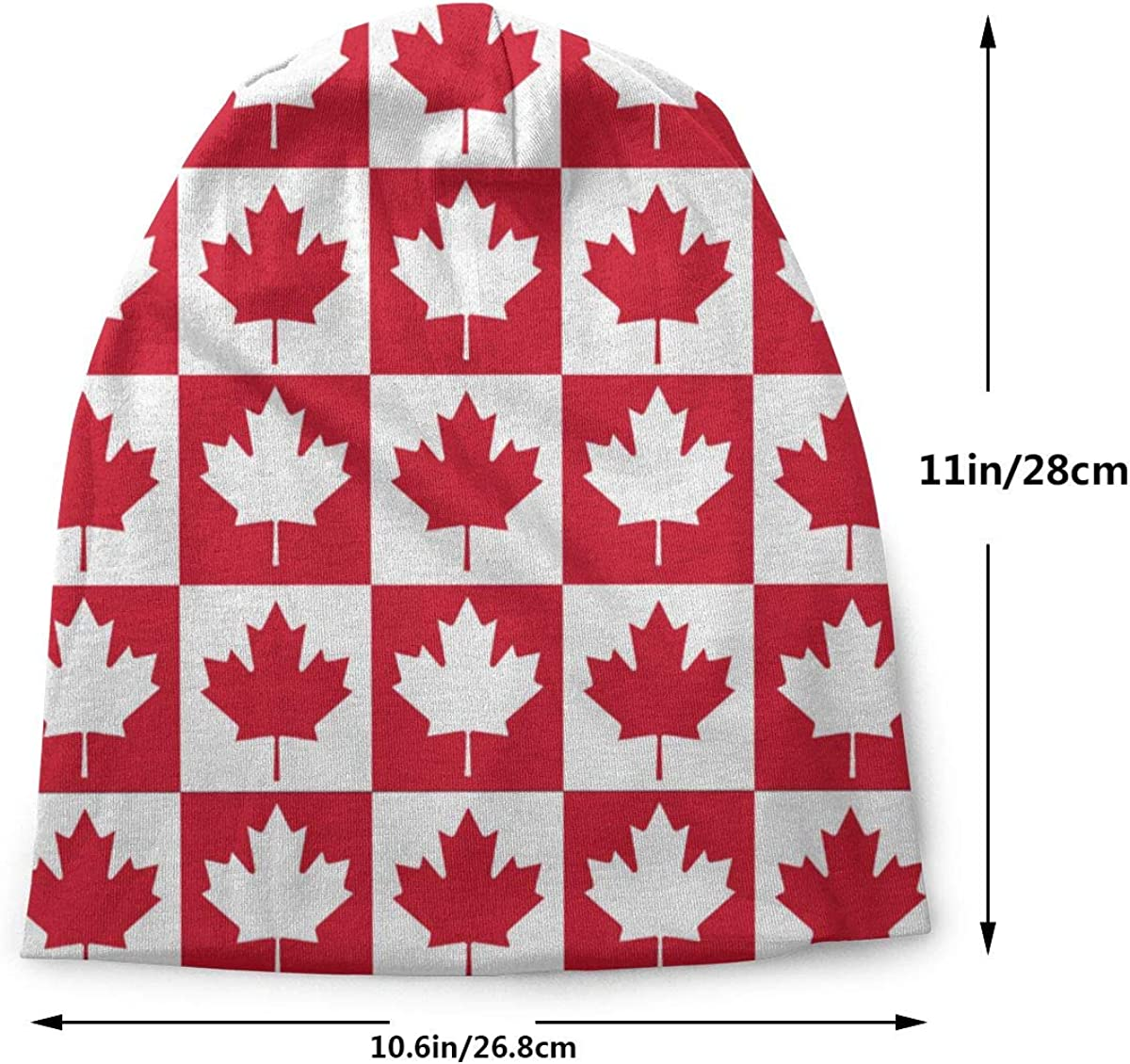 Lake-OD Maple Leaf Canada Flag Thin Baggy Slouchy Knit Beanie Hat Hip-hop Skull Cap for Mens and Womens