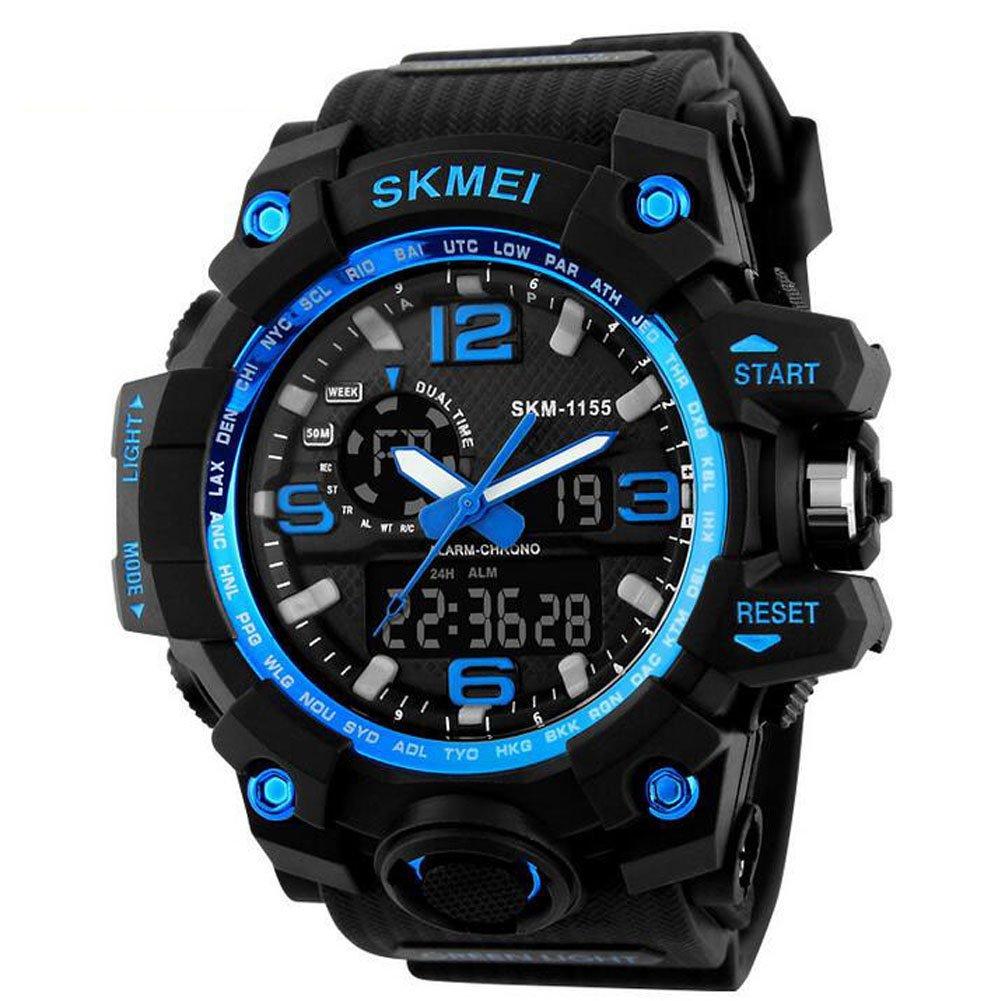 OUMOSI - Reloj de pulsera para Hombres, diseño Militar, LED, Digitales y analógicos, multifuncional, para deportes