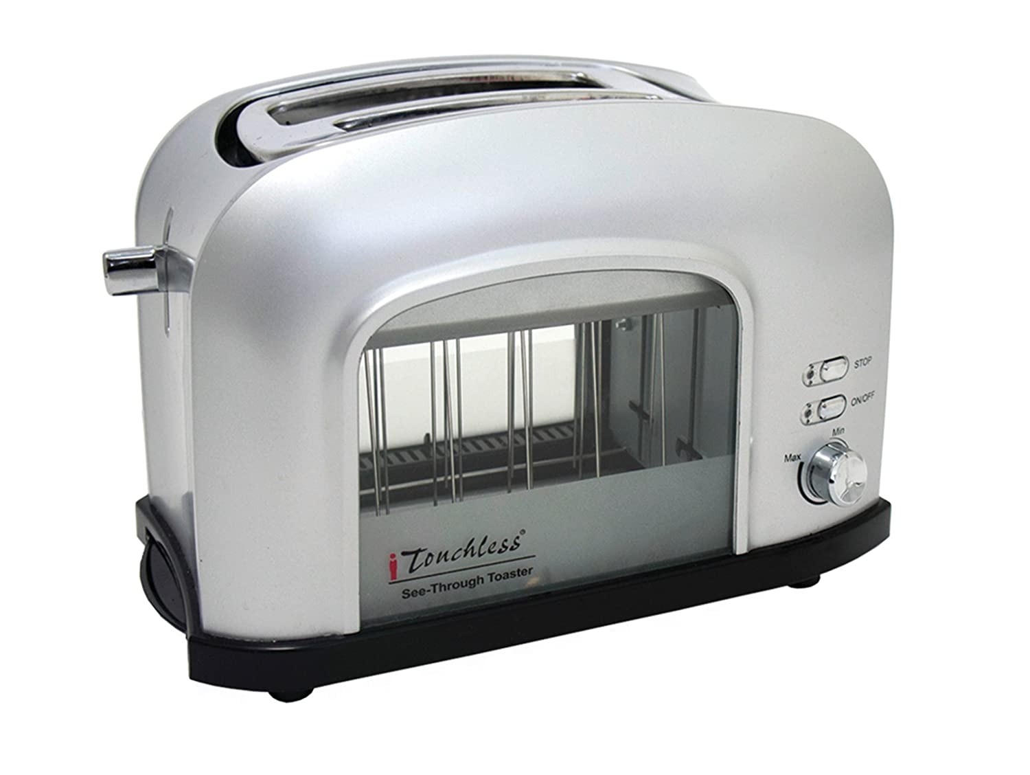 iTouchless SHT2GS 2-Slice See-Through Smart Toaster, Silver, 12.2L x 6.3W x 7.9H in. in,