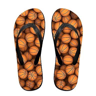 Couple Flip Flops BasketBalls Print Chic Sandals Slipper Rubber Non-Slip Spa Thong Slippers