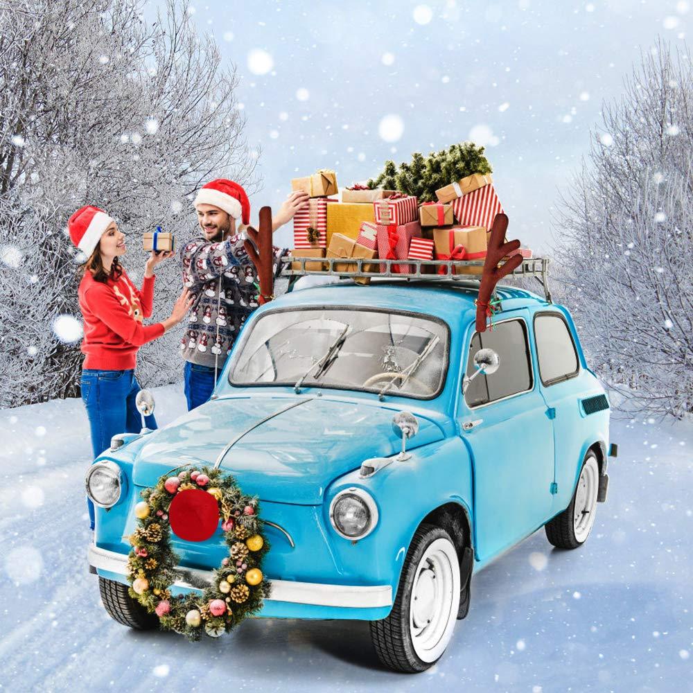 YQHbe Cuernos de Reno para Coche Reno de Navidad para Coche Kit de Decoraci/ón de Cuernos de Reno Rudolf y Nariz Roja con Campanillas y Cola Decoraci/ón de Ventana de Coche para Navidad