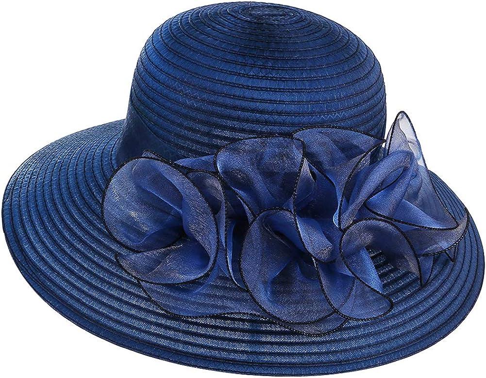 ChenXi Store Women Church Kentucky Derby Sun Hats Wide Brim Organza Wedding Sun Caps