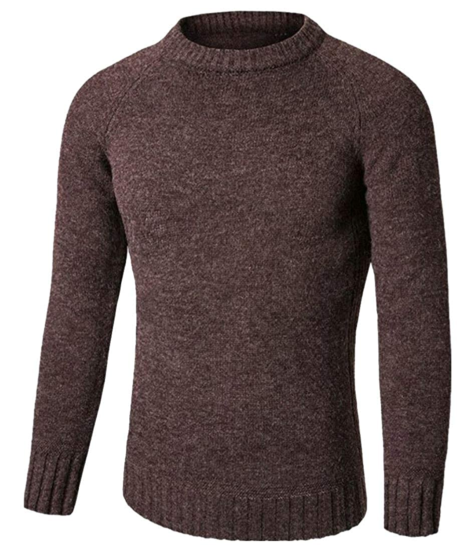Yayu Mens Crewneck Long Sleeve Knitted Slim Fit Pullover Fall Casual Sweaters