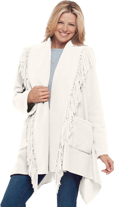 Woman Within Womens Plus Size Fringed Shawl Collar Fleece Jacket