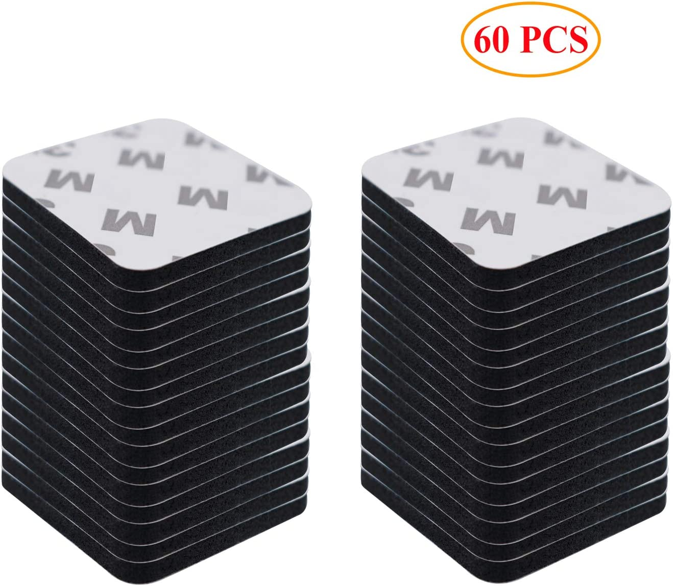60 PCS Big Size Adhesive Replacement Double-Sided Foam Tape High Bond Dots Conformable Glue Strong Pad Mounting Tape Strong Adhesion for Wall Surface Balloon Leather Rubber Mirror (Black, Square)