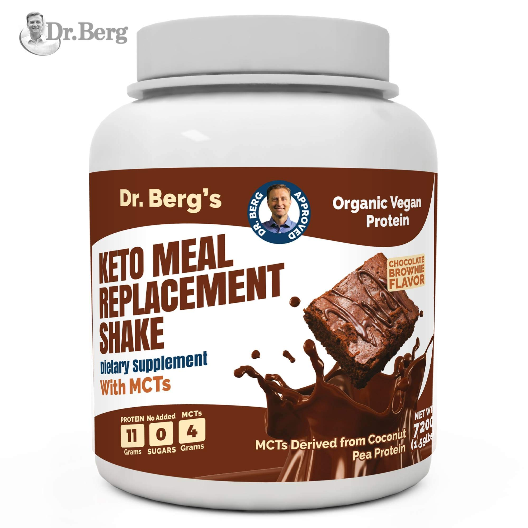 Dr. Berg's Meal Replacement Shake with MCTs & BCAAs, Plant Based Organic Protein, Zero Added Sugars - Delicious Creamy Chocolate Brownie Flavor, 11 Grams of Protein, 4 Grams of MCT, 1.55 Pounds by Dr. Berg's Nutritionals