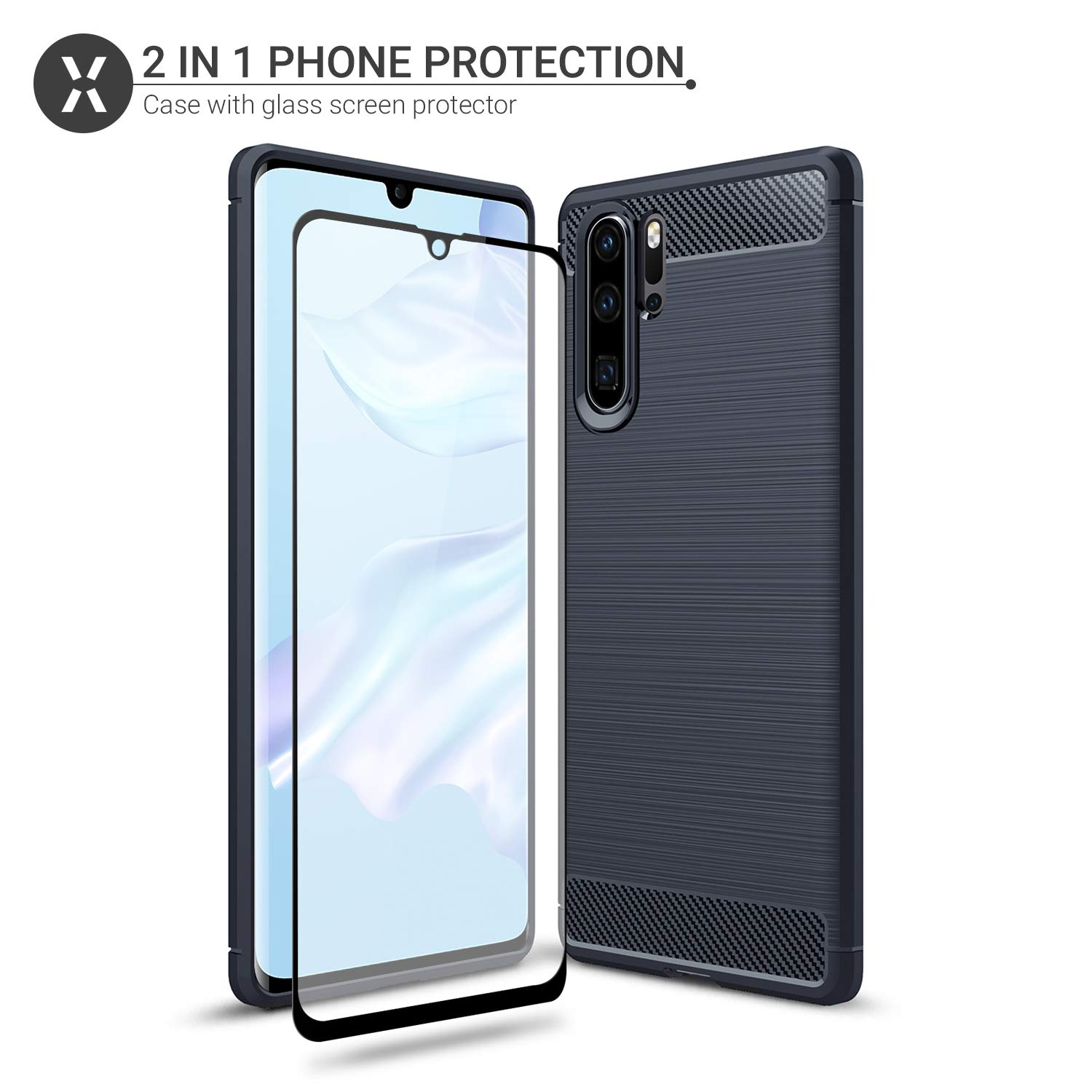 9H Tempered Glass Wireless Charging Compatible Full Body Cover Olixar for Huawei P30 Pro Case with Screen Protector 360 Protection//Front Back Blue Sentinel