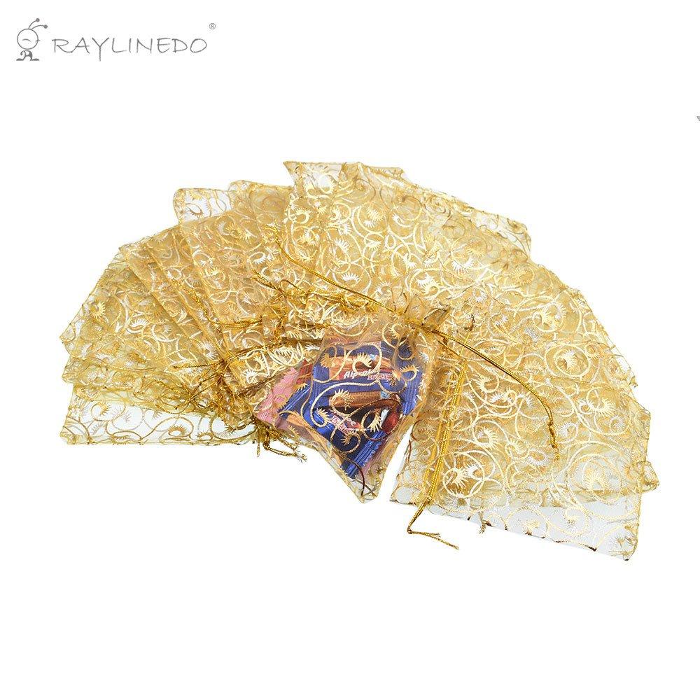 RayLineDo® Lot 100pcs 10cm*12cm coloré bronzante Pochettes en organza pour mariage Sacs Bijoux Pochettes Candy Cordon Wrap Sacs–Doré