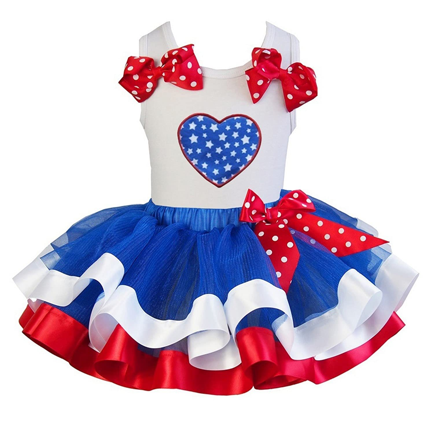 Kirei Sui Girl Royal Blue White Red Satin Trimmed Tutu & Heart Outfit