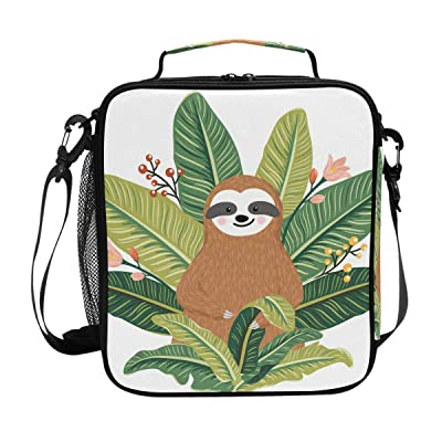 JOYPRINT Lunch Box Bag Cute Animal Baby Sloth Palm Leaves Lunchbox Insulated Thermal Cooler Ice Adjustable Shoulder Strap for Women Men Boys Girls: Kitchen & Dining