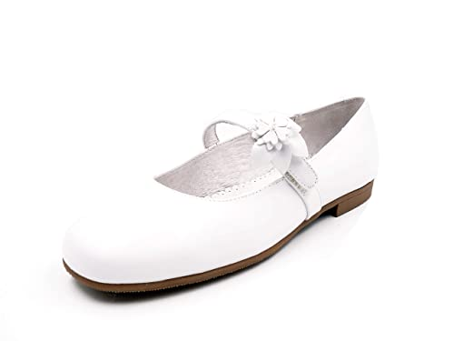 2f9493d85 Zapatos Merceditas niña para COMUNION de la Marca PITOSS - Piel Color  Blanco Porcelana -