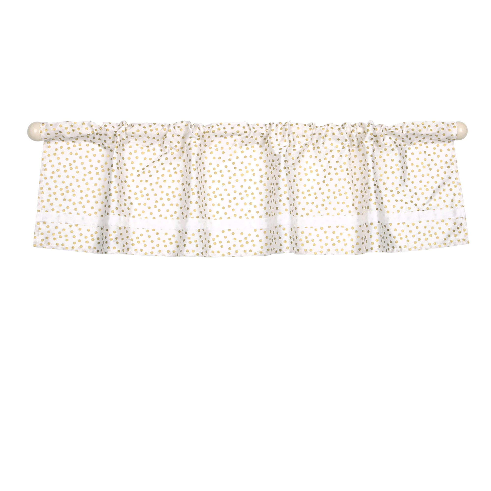 Gold Confetti Dot Print Window Valance by The Peanut Shell - 100% Cotton Sateen by The Peanut Shell