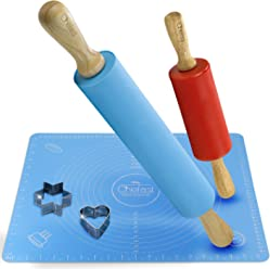 Chefast Non-Stick Rolling Pin and Pastry Mat Set: Combo Kit of Large and Small Silicone Dough Rollers, Reusable Kneading Mat with Measurements, and 2 Stainless Steel Cookie Cutters for Baking