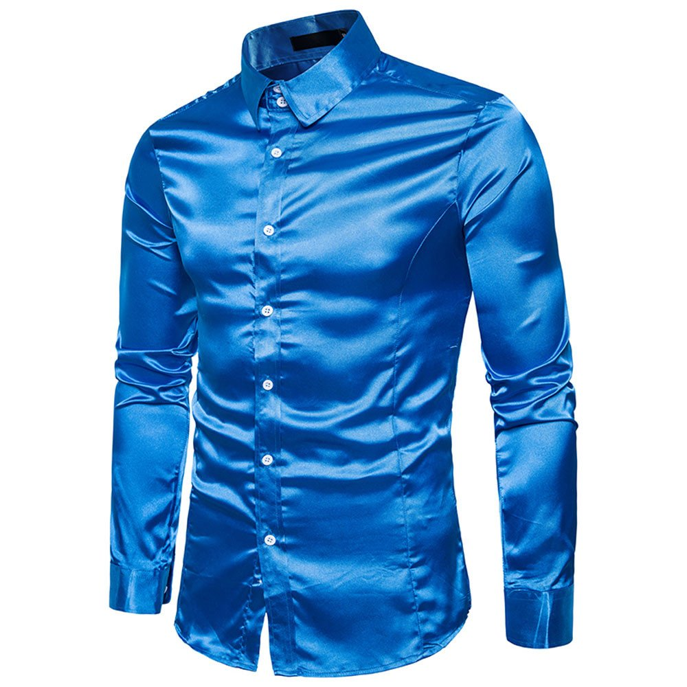 Mens Fashion Personality Casual Slim Long-Sleeved Shirt Top Blouse