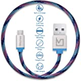 iVoltaa Pixie Micro USB to USB Premium Nylon Braided (1 Meter/ 3.3 Feet) Cable - With Quick Charging (2.4 Amp) and High Speed Data Sync (Kyber Blue)