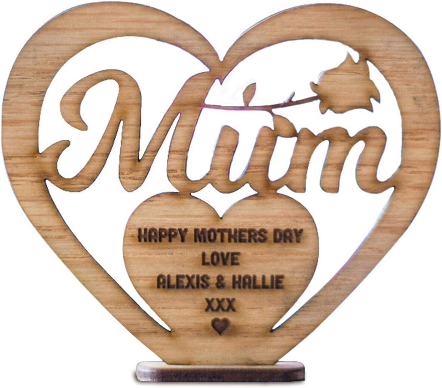 huiyingshe Decoraciones de Madera para el día de la Madre, decoración de Mesa con Forma de corazón de Amor para el hogar, Adorno de Madera, Regalo Artesanal para la Madre, Feliz día de la Madre