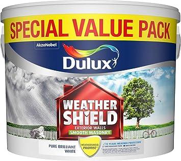 Dulux Weathershield Smooth White Masonry Paint - Excellent Acrylic-Based Paint