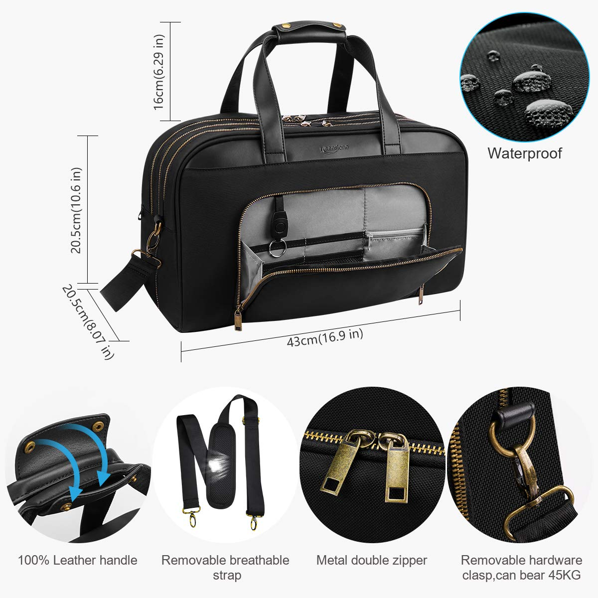 Keenstone Holdall Travel Bag for Laptop, Waterproof Business Bag for Men and Women, Durable Travel Duffel Bag with USB Weekend Bag Overnight Bag Carry On Luggage with Shoulder Strap -35L (Black)