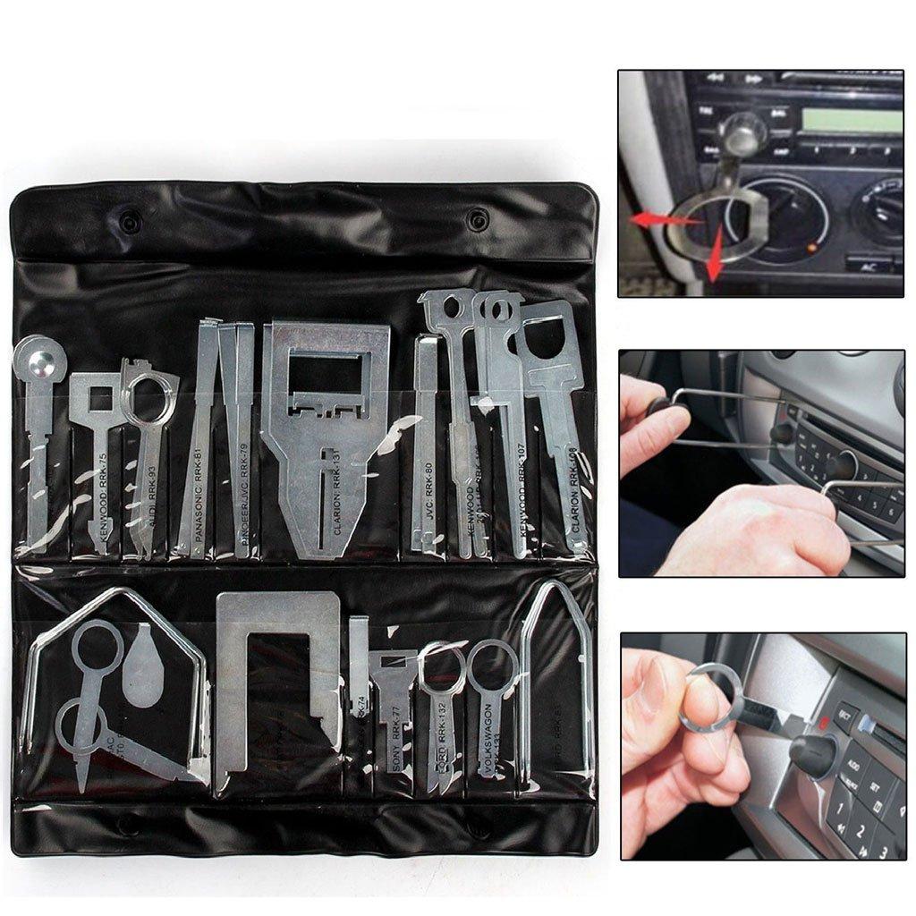 Sharplace Nero 38x Chiavi Di Rimozione Stereo Audio Radio CD Estrazione Strumento Accesorio Automobile
