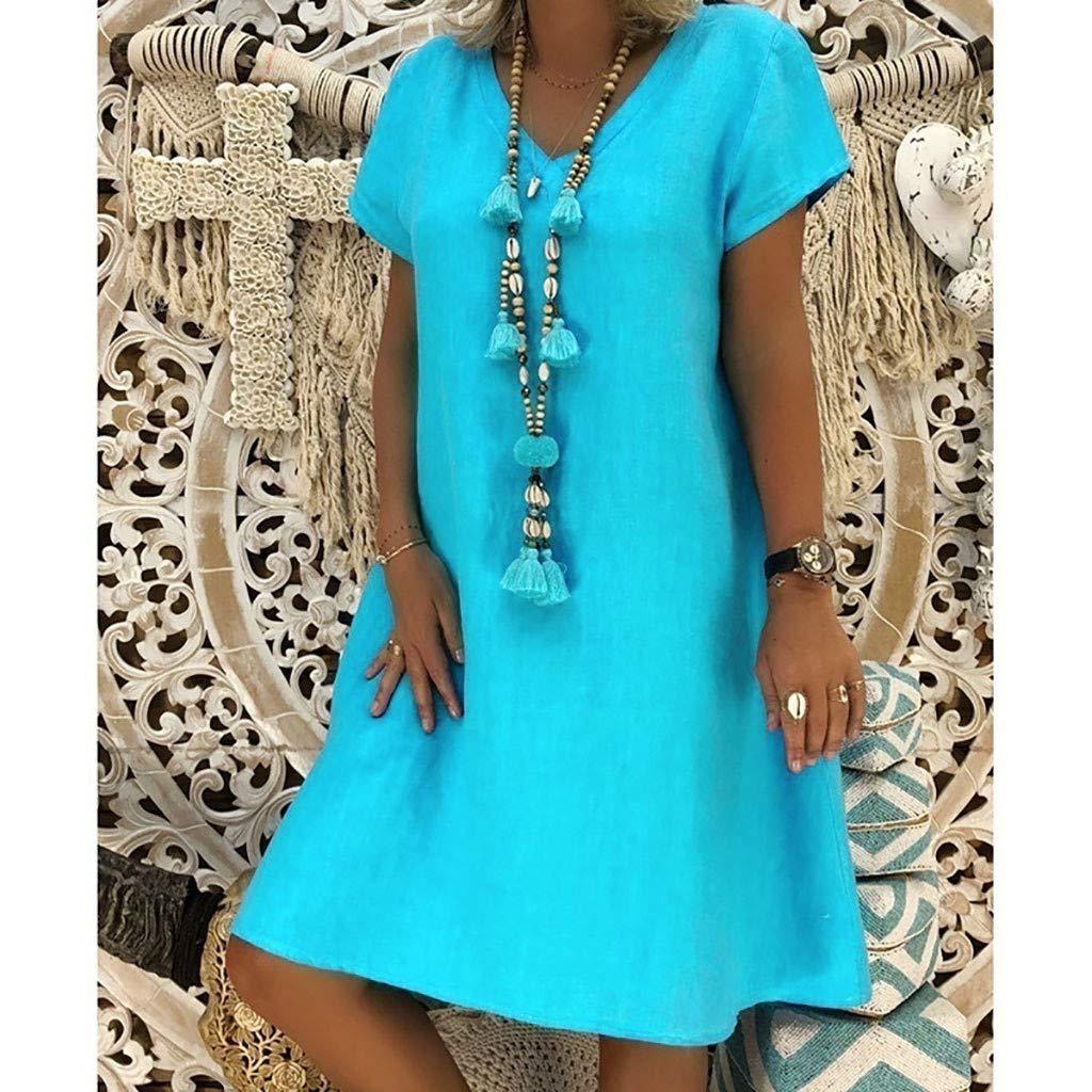 playera de fiesta de verano Bibao Vestido bohemio de algod/ón para mujer 43468 amarillo talla grande L2