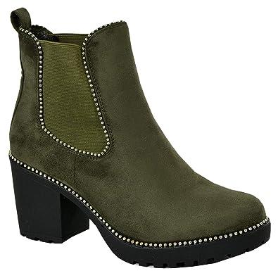 0e318033de7ca CucuFashion Ladies Womens Chelsea Ankle Boots Studded Block Heels Elastic  Shoes Sizes UK