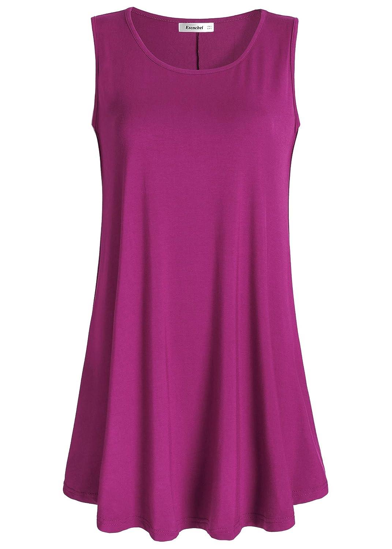 Boysenberry Esenchel Women's Flowy Sleeveless Tunic Top for Leggings