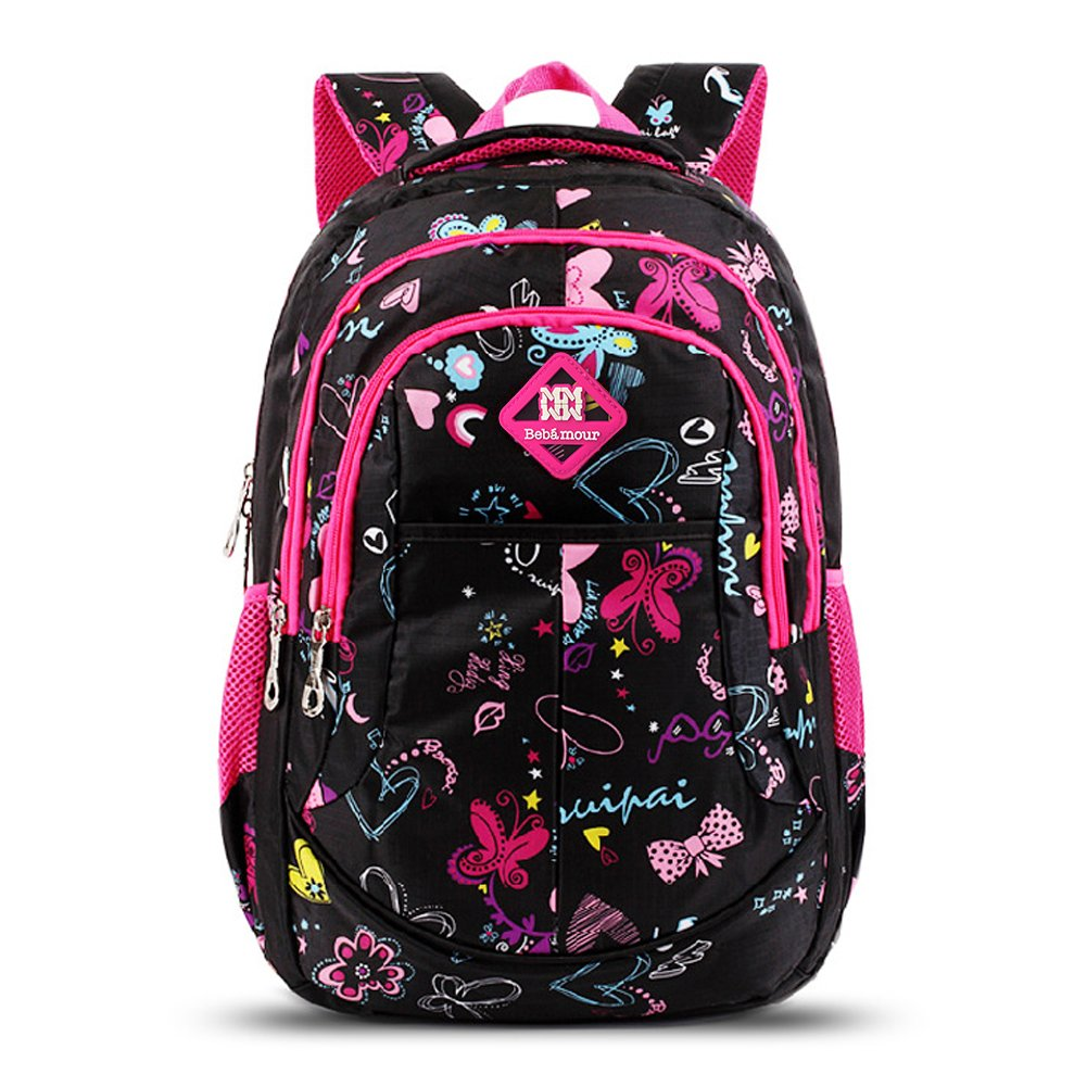 Bebamour School Bag Backpack for Girls Butterfly and Sweetheart Pattern Kids Backpack UKT5201
