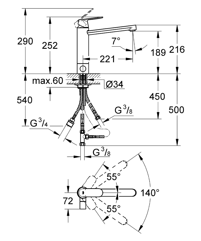 Grifo para fregadero Ref 30193DC0 Grohe Concetto