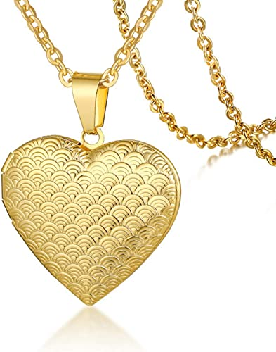 Beydodo Gold Plated Locket Necklace with Photo Memorial Jewelry Necklace Polished Round Shape