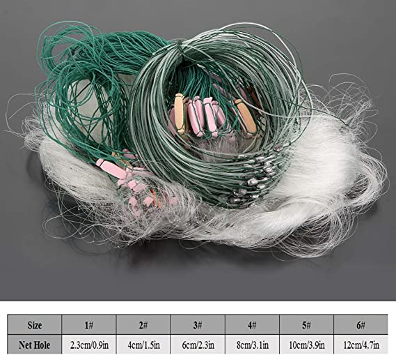 20m 1 Layers Fishing Net Monofilament Fishing Gill Network With Float 2 OptionH3