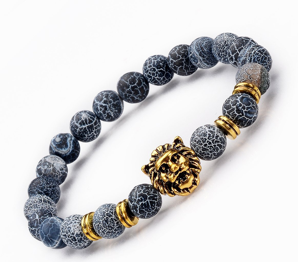 HTVNG Handmade Jewelry Sky Blue Crack Bead Stone / Gold-plated Lion Head Mens 8 mm Beads Elastic Bracelets for women and girls