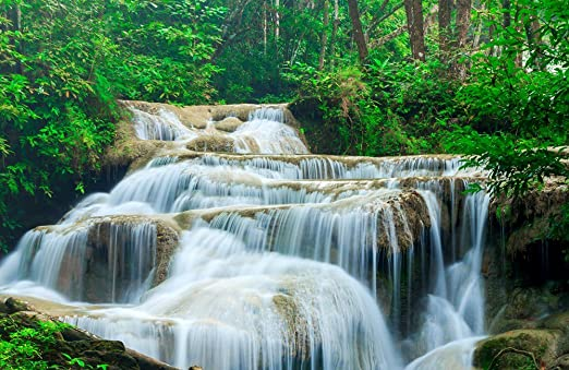 choose your size. Beautiful Waterfall Nature Scene Home Decor Canvas Print